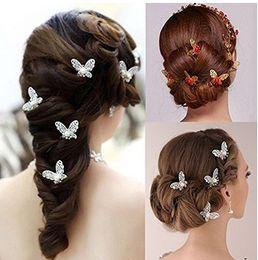 $enCountryForm.capitalKeyWord Canada - Charm Bridal Hair Accessories U Shape Rhinestone Gold Silver Plated Butterfly Pins Womens Party Head Pieces Wedding Hair Pieces