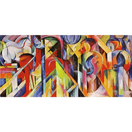 Chinese  Franz Marc artwork Reproduction Stables oil painting canvas High quality Handmade Wall decor manufacturers