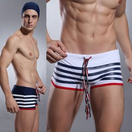 man swimwear striped 2018 - Wholesale- Men's sexy swimwear white blue striped swimsuit men slim swim shorts striped swim trunks male board shor