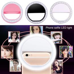 Al por mayor-Hot Universal portátil elegante teléfono móvil Selfie LED anillo de luz de destello belleza clip de maquillaje cámara fotográfica luminosa