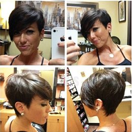 Brazilian hair short cut wigs online shopping - HOTKIS Human Hair Short Wigs Glueless Pixie Cut Bob Wigs for Women can be washed and curled