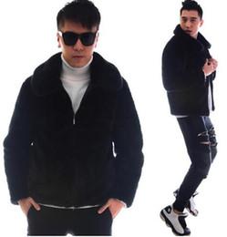 Wholesale long black fur rabbit coat men resale online - Black warm casual short faux rabbit fur coat mens leather jacket men coats villus winter loose thermal outerwear thicken