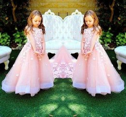Barato Vestidos Feitos À Mão Do Bebê-Baby Pink Long Flower Girls Vestidos com flores artesanais Princess Girls Dress Up Dress Tiered Tulle Kids Party Party Party