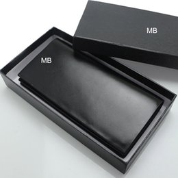 Square box gift packaging online shopping - Luxury European popular the new fashion business men s soft Genuine leather MB wallet High end gift box package