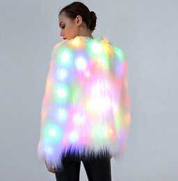 Faux Fur Women's Clothing 2017 Autumn Winter New Dope Rainbow Color Led Lights Long Sleeve Hooded Faux Fur Coat Jacket Halloween Christmas Party Costume