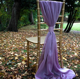 Red chaiR events online shopping - Ivory White Flowy Chiffon Wedding Chair Sashes Custom Made Celebration Birthday Party Event Decor Chair Bows Chair Covers cm
