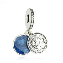 sterling silver pendant charms Canada - Pendant charms blue enamel authentic S925 sterling silver beads fits pandora Jewelry bracelets free shipping aleCH621