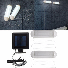 solar sheds NZ - Waterproof 5V Solar Powered 2pcs LED Solar Light LED Outdoor Light Bulb Garage Shed Corridor Stable Cord Switch Lamp