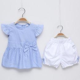 $enCountryForm.capitalKeyWord Canada - Kids Clothing Sets Baby Girls Striped Bow Princess Tops Dress+Lace Flower Shorts Girls 2Pcs Sets Kids Outfits Girls Summer Sets