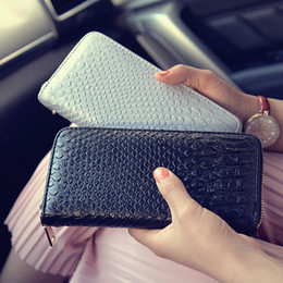 Big Long Wallets Canada - Wholesale- New Big Capacity Ladies Patent Leather Crocodile Long Purses High Quality Patent Pu Leather Women Wallets Luxury Zipper Day Clut