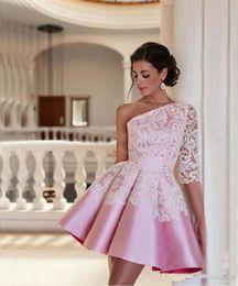 $enCountryForm.capitalKeyWord Canada - Modest Pink Short Prom Party Dresses 2017 Applique Satin One Shoulder Half Sleeve Above Knee Length Cocktail Gowns Ruffles vestido