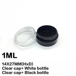 acrylic cosmetic jar white 2018 - 1ML Plastic Empty Jar Clear Cap White Black Bottle 1Gram Mini Pot Acrylic Cosmetic Eyeshadow Lip Balm Sample Bottle Nail