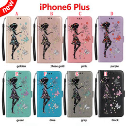 Discount pink glitter butterflies - Glitter Girl Strap Wallet Leather Pouch Case For Iphone 8 7 Plus 6 6S 5S Huawei P9 P10 P8 LITE 2017 Y3 Y5 Y6 II Flower B
