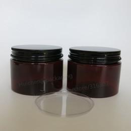 Vente en gros 20 x 150 g Ambre Pot en plastique vide avec couvercle noir Maquillage Bouteille Emballage cosmétique Contenants de crème pour les mains Masque facial Pots