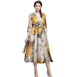 9a6af9f4ad5 Robe empiRe line online shopping - Fashion Dress Fall Runway Dresses Women  High Quality Floral Print
