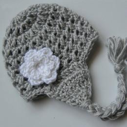 e3c437d552f Handmade Knit Crochet Baby Girl Gray Earflap Hat with White Flower