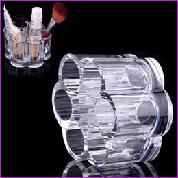 Acrylic Brush Case Canada - Acrylic Round 12 Holes Lipstick Makeup Brush Holder, Sundry Display Mascara Stand Cosmetic Organizer Makeup Case storage box