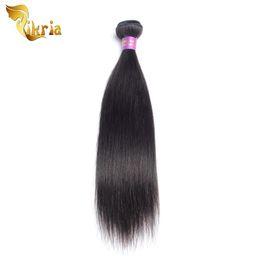 Wholesale 4 Pcs Human Hair Wefts Straight Brazilian Indian Peruvian Malaysian Extensions Human Hair Weaving Natural Black Color 4 Bundles