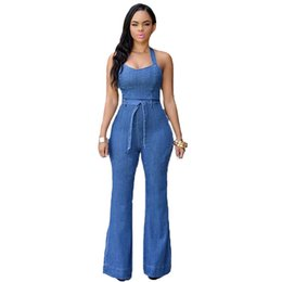 Barato Senhoras Denim Rompers-Atacado- Mulheres Sexy Halter Denim Jumpsuits 2016 New Fashion Wide Leg Jeans Rompers Ladies Casual Backless Party Overalls Jumpsuit