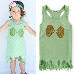 Habille Les Enfants Blancs Verts Pas Cher-2017 Hot New Confortable Coton Cute Girl Dress Tassel Mint Vert O Neck Long Enfant Baby Dress Summer Mint Vert Blanc Noir En Stock
