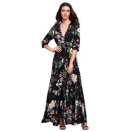 Robe Maxi De Cordon Pas Cher-Floral Print Robes de plage Bohemian sexy V Neck Drawstring Button Front Robe Maxi Femmes fête d'été Party Eleagnt long boho dress 2017
