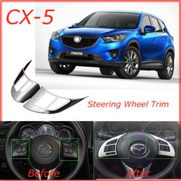 wheel trimmer NZ - High Quality Mazda CX-5 CX5 AWD 4WD 2012 2013 Mazda ATENZA 2014 Chrome Steering Wheel Trim Interior Frame Auto Parts Car Styling