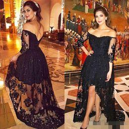 $enCountryForm.capitalKeyWord NZ - Sexy Black Evening Dresses with Quarter Sleeves 2019 A-Line Off-Shoulder Illusion Bodice Hi-Lo Nigeria Arabic Dubai Prom Celebrity Dress