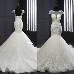 Barato Vestido De Renda De Trompete Mermaid Bateau-2017 Elegant Mermaid Wedding Dress Sheer Bateau Neck Capped Unique Beaded Lace Appliques Corset Back Trumpet Bridal Gowns com trem