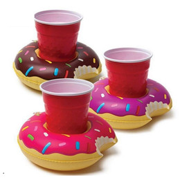 wholesale bottle trays Canada - Mini Donut Swimming ring drink cup holder inflatable giant swan cup tray swim pool floaing Bottle Holder Floating Lovely Bath Toy