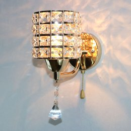 ac85265v pull chain switch crystal wall lamp lights modern zipper stainless steel bedside lighting wall sconces lighting fixture