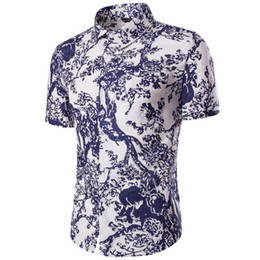 Wholesale Mens Linen Shirts UK - Wholesale- Chinese Style Linen Fashion Floral Mens Shirts Short sleeve Slim Fit Casual Social Camisas Masculinas for Man Chemise homme