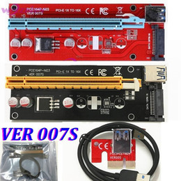 Pci E Power Supply Canada - VER 007S Red PCI-E PCI E Express 1X to 16X graphics card Riser Card SATA Molex Power Supply with USB 3.0 Cable For Bitcoin Miner