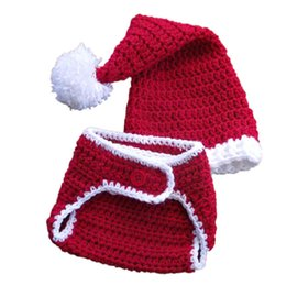 girls crochet hats UK - Crochet Baby Santa Outfit,Handmade Knit Baby Boy Girl Santa Stocking Hat Diaper Cover,Infant Christmas Costume,Newborn Toddler Photo Prop