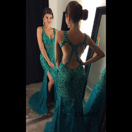 V Col Longue Robe Bleu Ciel Pas Cher-Sky Blue Sparkly Long Robes de bal 2017 Sexy Sweetheart Hollow Side Slit Beads Crystal Sweep Train Tulle Mermaid Robe de soirée