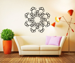 modern wall arts islamic UK - Lacework Wallpaper Calligraphy Islamic Circle Wall Stickers Living Room Decorative Plane Wallsticker Vinyl Decals For Cafe