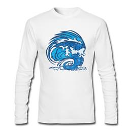 5c279ae10 Comic Wave print t-shirt new season listing prevailing men's long sleeve  tees shirt slim tailoring design male soft clothing