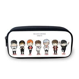 $enCountryForm.capitalKeyWord NZ - Wholesale- 2016 South Korean design BTS cartoon pencil bag girl fans the best gift 3D picture students stationery bag girl's make-up bag