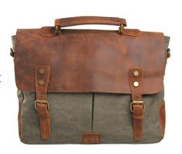 Unisex Canvas Laptop Messenger Bag Canada - Canvas with leather and retro Messenger Bag Shoulder Messenger Bag Laptop Briefcase