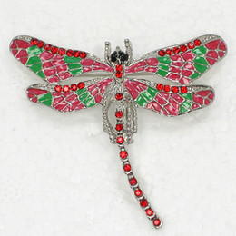 $enCountryForm.capitalKeyWord Australia - 12pcs lot Wholesale Crystal Rhinestone Enameling Dragonfly Brooch Fashion Costume Pin Brooch C180