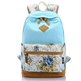 Discount pink cotton canvas backpack - Wholesale- Canvas Print Bag Middle School Backpack School Teenagers Girls Vintage Stylish Ladies Bag Backpack Female Blu