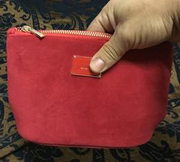 Bag Brand logos online shopping - luxury velvet handbag red color with brand logo pattern soft storage bag makeup bag