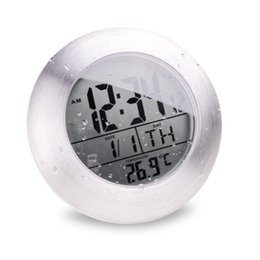 China Hot Sale Waterproof Shower Time Watch Digital Bathroom Kitchen Wall Clocks Silver Big Temperature Display LCD Sucker Fixed ZA2896 cheap bathroom clocks suppliers