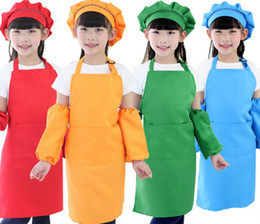 plain cooking aprons NZ - 10 Colors Kids Aprons Pocket Cooking Baking Art Painting Kids Kitchen Dining Bib Kitchen Supplies free shipping