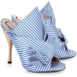 Brown Peep Toe Gladiator Sandals UK - Fashion Satin High heeled Sandals For Women Spike Heel Slingbacks Peep Toe Big Bowtie Crossover Women Sandals