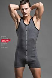 Wholesale sexy men sleepwear resale online - Mens Sexy Bodysuit Brand Superbody Men BodySuit Gay Penis Pouch Men Bodywear Singlet Sleepwear Cotton Bodybuilding UW