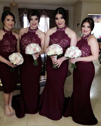 Barato Longos Vestidos De Dama De Honra Quentes-Hot Dark Red Burgundy Mermaid Bridesmaid Dresses 2017 Halter Neck Sleeveless Lace Appliques Long Maid of Honor Wedding Guest Gowns
