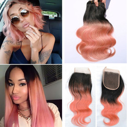 $enCountryForm.capitalKeyWord Canada - Ombre Lace Closure With Bundles Two Tone 1B Rose Gold Body Wave Hair Weave With Lace Closure Ombre Top Closure With Bundles