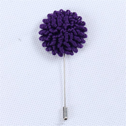 flower christmas ornament UK - BoYuTe 5Pcs Purple Color Flower Brooch Wholesale Fashion Men Wedding Fabric Lapel Pin for Suits Christmas Ornament