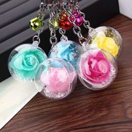 $enCountryForm.capitalKeyWord Australia - XS New Metal Resin Ball Bell Key Chain Roses Flowers Key Pendant for Women Girl Accessories Wholesale
