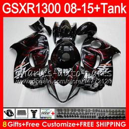 China 8Gifts 23Colors For SUZUKI Hayabusa GSXR1300 08 09 10 11 12 13 14 15 red flames 19HM1 GSX R1300 GSXR 1300 2008 2009 2010 2011 Fairing Kit cheap gsxr fairing red white suppliers